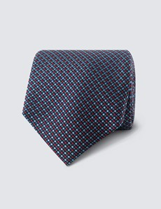 Men's Red 2 Tone Squares Tie - 100% Silk
