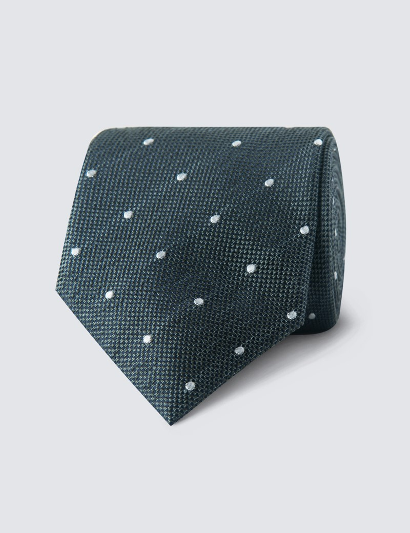 Men's Green Spots Print Tie - 100% Silk