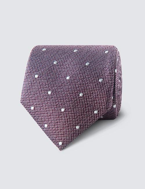 Krawatte – Seide – Standardbreite – Magenta Mit Tupfen Weiß