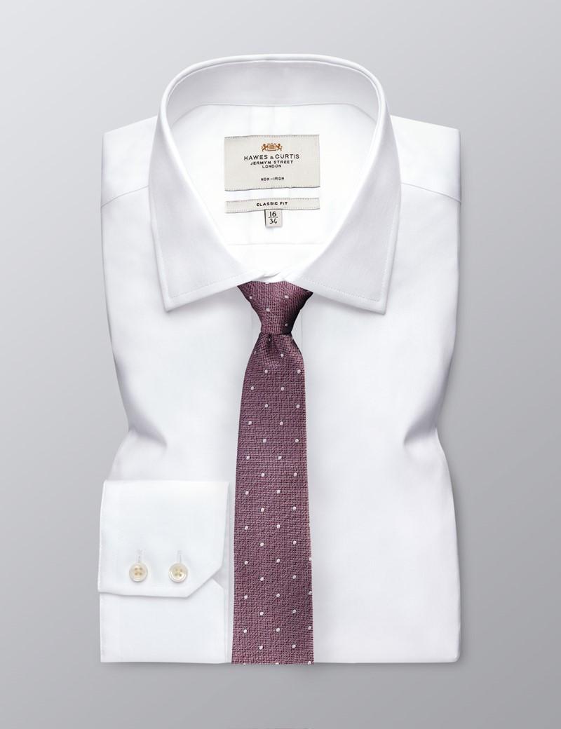Men's Pink Spots Print Tie - 100% Silk