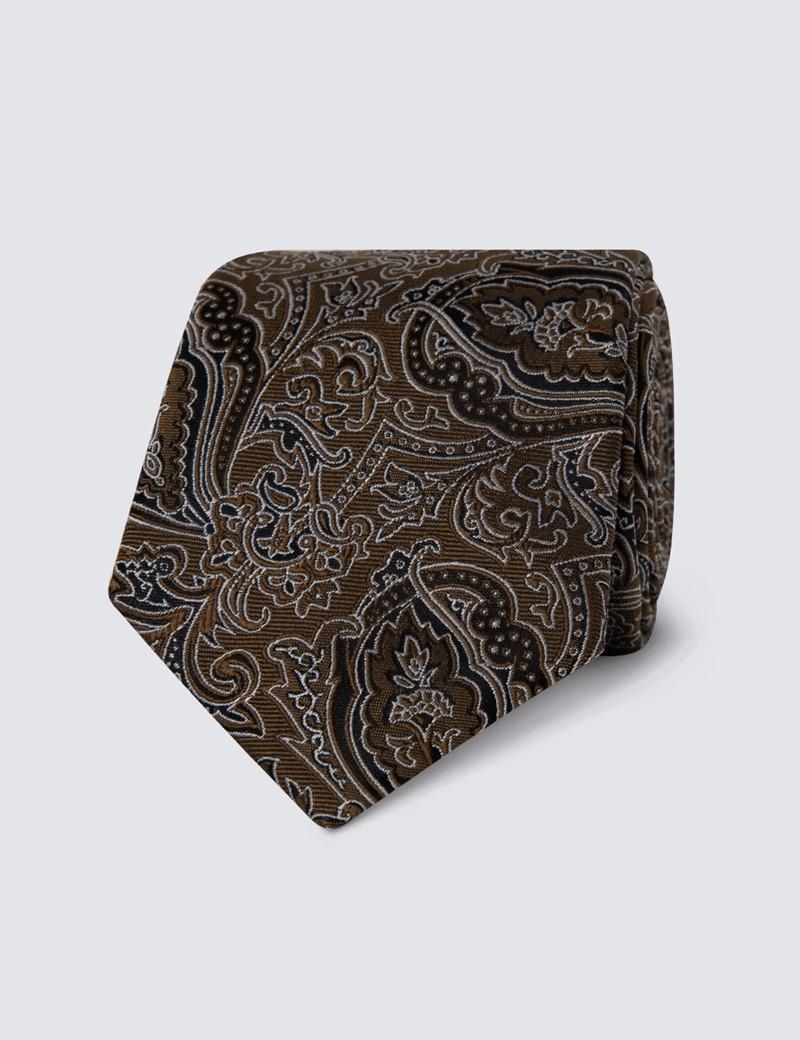 Men's Brown Tonal Floral Tie - 100% Silk
