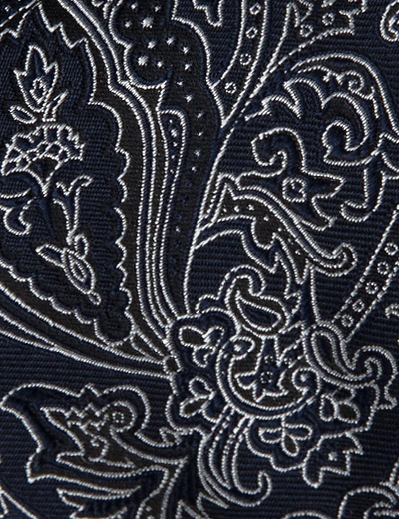 Men's Navy Tonal Floral Tie - 100% Silk