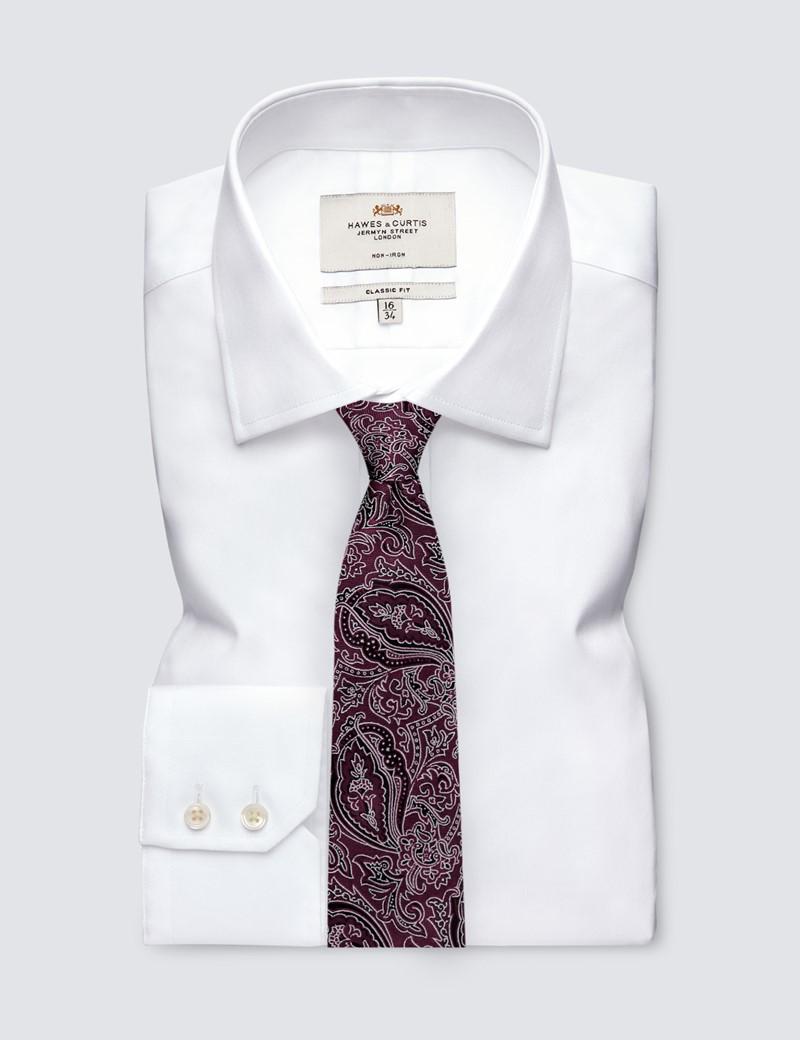 Krawatte – Seide – Schmal – Paisley Burgunderrot