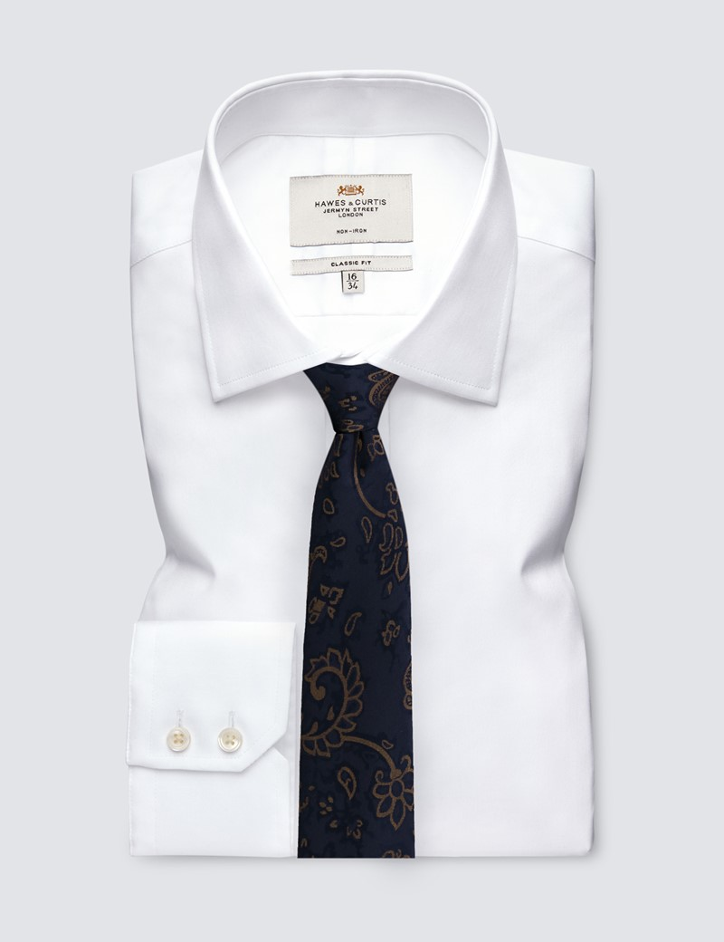 Men's Navy & Brown Shadow Floral Tie - 100% Silk