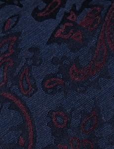 Men's Navy & Burgundy Shadow Floral Tie - 100% Silk