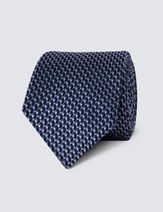 Men's Navy & Blue Multi Shapes Tie - 100% Silk