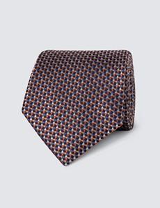 Men's Orange & Blue Multi Shapes Tie - 100% Silk