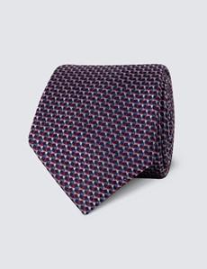 Men's Pink & Blue Multi Shapes Tie - 100% Silk
