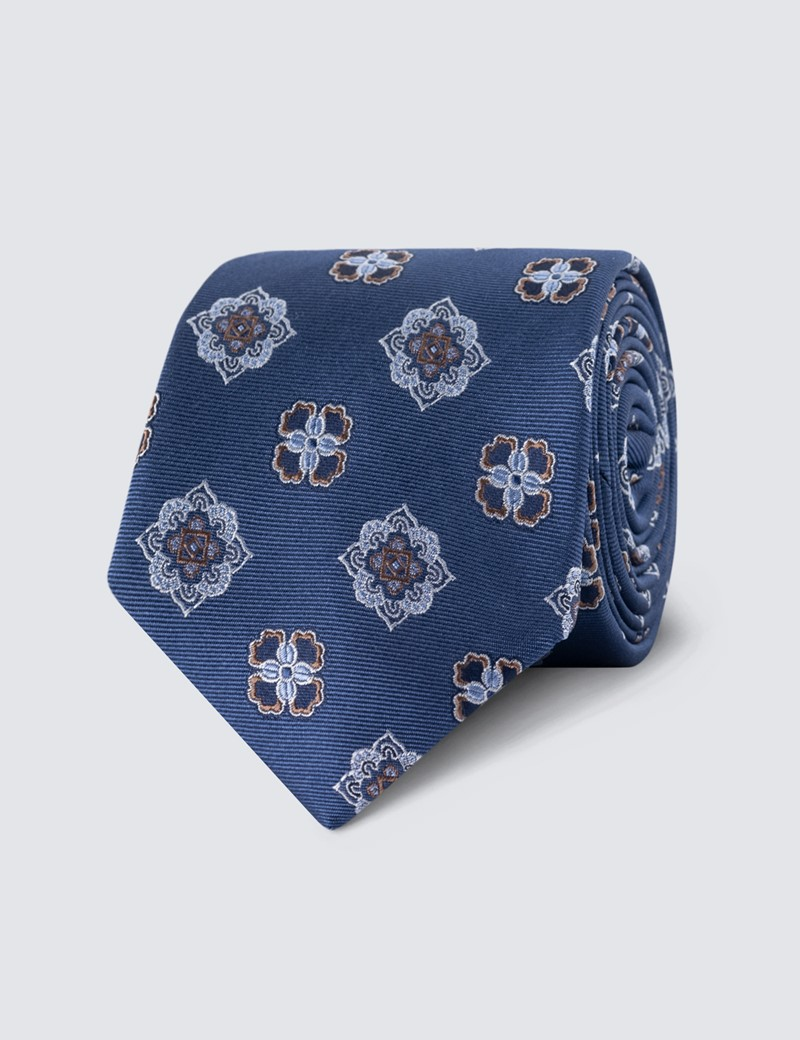 Men's Royal Blue Printed Medallion Tie - 100% Silk
