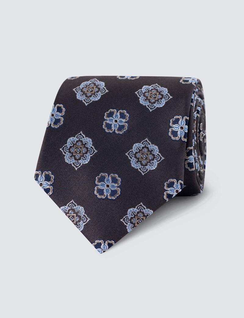 Men's Brown Printed Medallion Tie - 100% Silk
