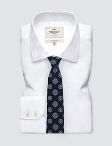 Men's Navy Printed Medallion Tie - 100% Silk