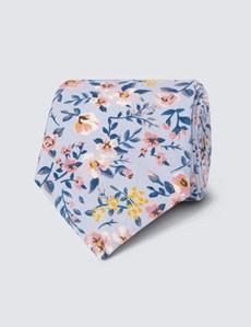 Krawatte – Baumwolle – Schmal – blau & pink Blumen