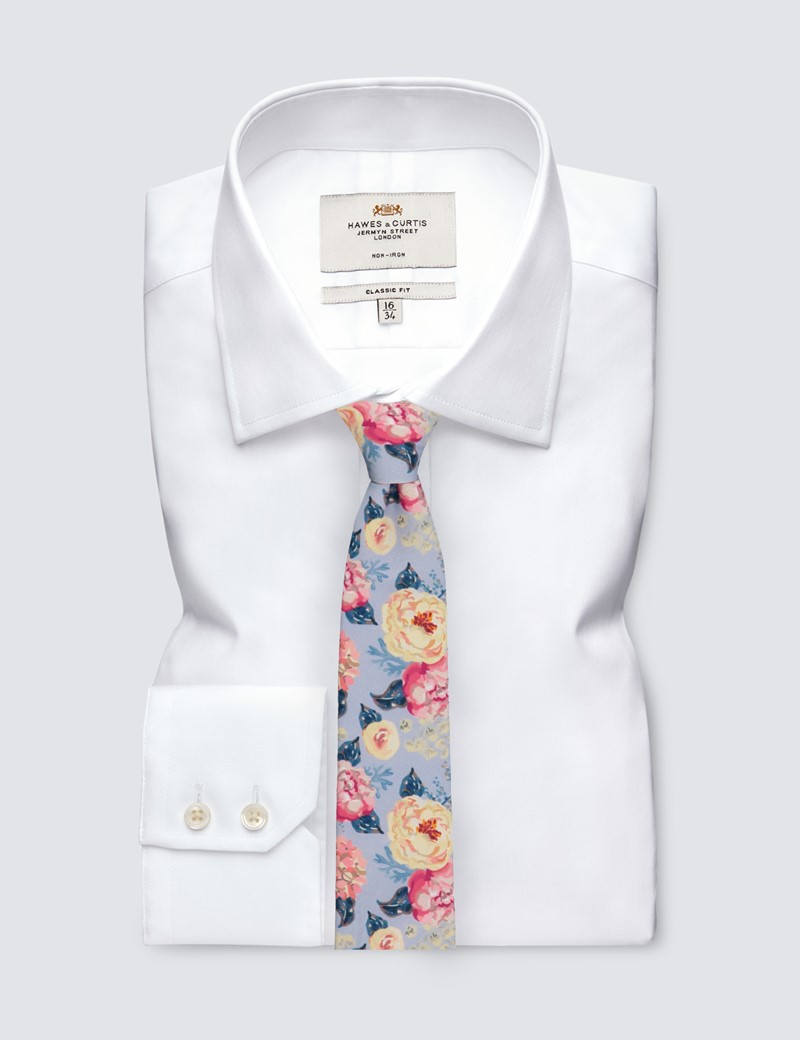 Men's Grey & Pink Floral Tie - 100% Cotton