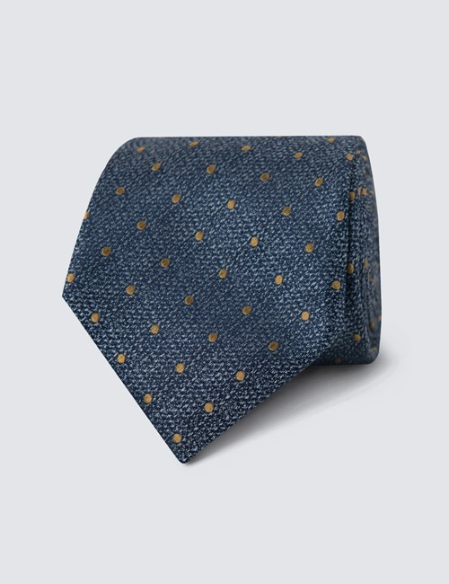Krawatte – Seide – Standardbreite – Texturiertes Blau mit gelbgoldenen Pünktchen