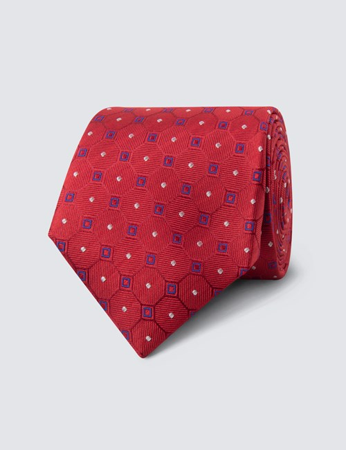 Men's Red & Blue Geometric Square Tie - 100% Silk