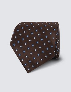 Men's Brown Neat Squares Print Tie - 100% Silk