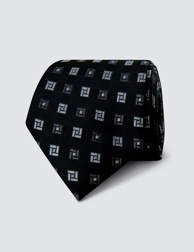 Krawatte –  Seide – Standardbreite – Geometrisches Design schwarz