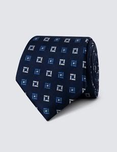 Men's Navy & Blue Two Tone Geometric Print Tie - 100% Silk