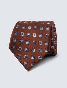 Men's Orange & Blue Two Tone Geometric Print Tie - 100% Silk