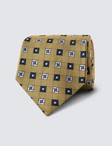 Men's Yellow & Navy Two Tone Geometric Print Tie - 100% Silk