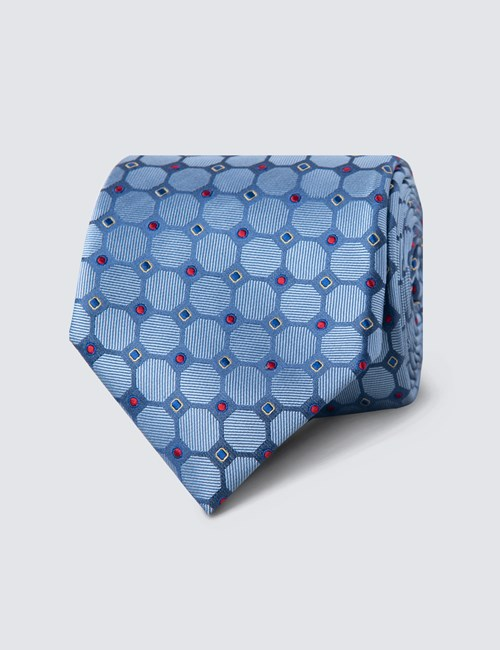Men's Blue & Red Geometric Circles Tie - 100% Silk