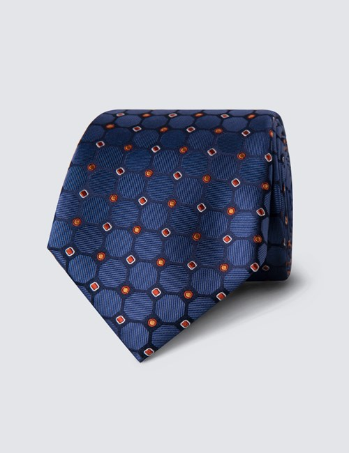 Men's Blue & Orange Geometric Circles Tie - 100% Silk