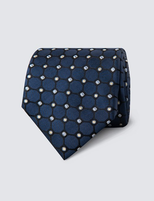 Men's Navy & Yellow Geometric Circles Tie - 100% Silk
