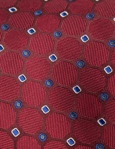 Krawatte – Seide – Standardbreite – Rot mit geometrischem Muster