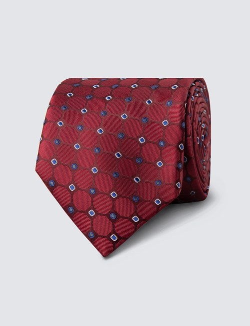 Men's Burgundy & Blue Geometric Circles Tie - 100% Silk