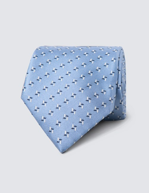 Men's Light Blue & Navy Two Tone Dashes Tie - 100% Silk