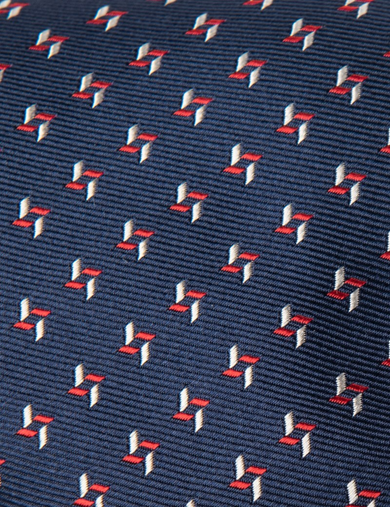 Men's Navy & Red Two Tone Dashes Tie - 100% Silk