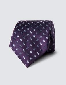 Men's Purple & Light Blue Two Tone Dashes Tie - 100% Silk