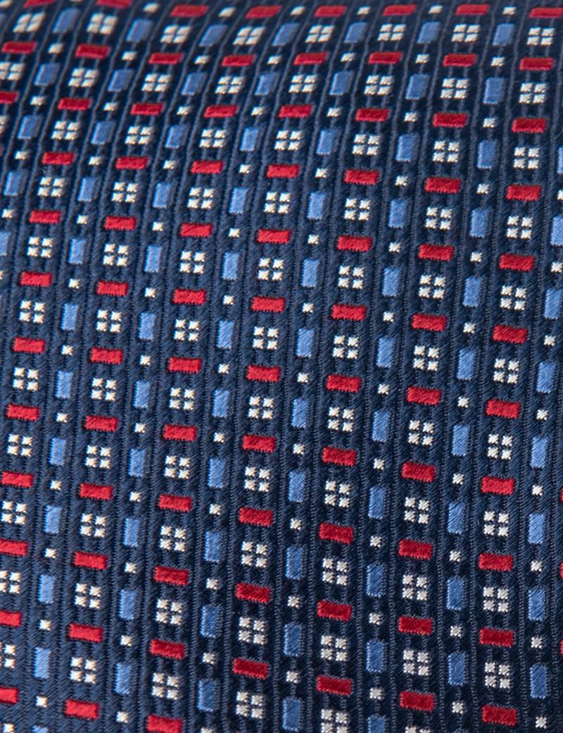 Men's Navy & Red Two Tone Tiles Tie - 100% Silk
