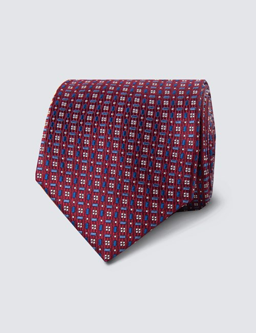 Men's Wine & Blue Two Tone Tiles Tie - 100% Silk