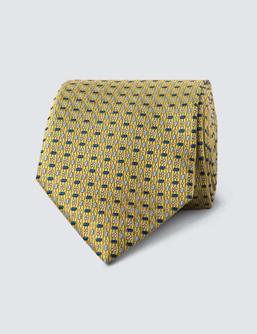 Men's Yellow & Blue Two Tone Tiles Tie - 100% Silk