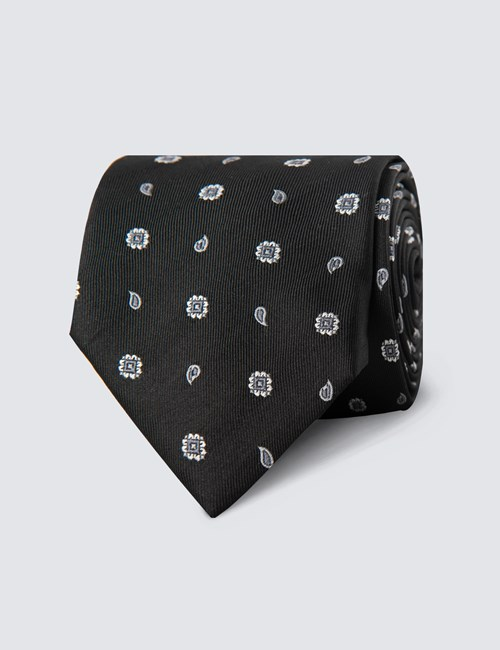 Men's Black Geometric Teardrop Print Tie - 100% Silk