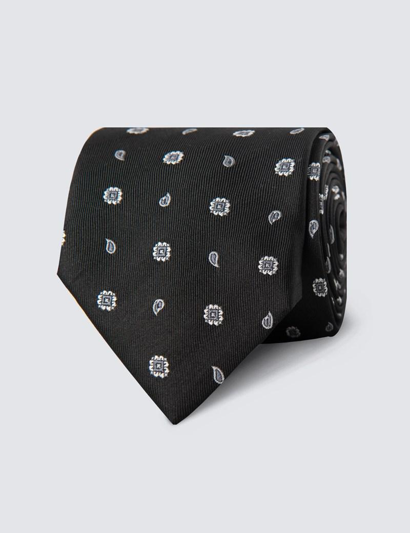 Men's Black Geometric Teardrop Print Tie - 100% Silk