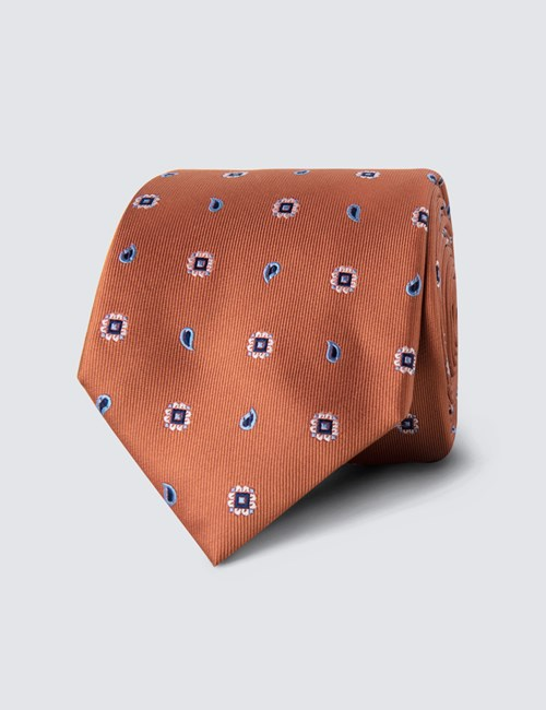 Men's Orange Geometric Teardrop Print Tie - 100% Silk
