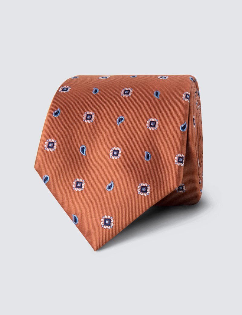 Men's Orange Geometric Teardrop Print Tie - 100% Silk