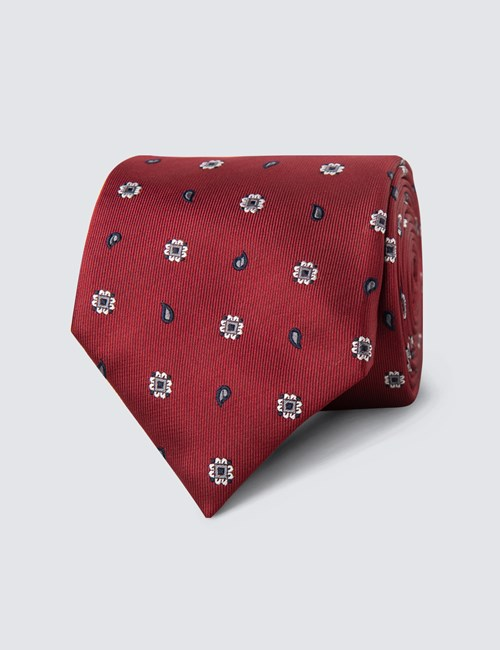 Men's Burgundy Geometric Teardrop Print Tie - 100% Silk