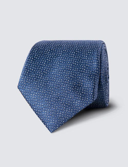 Men's Light Blue Small Dashes Tie - 100% Silk