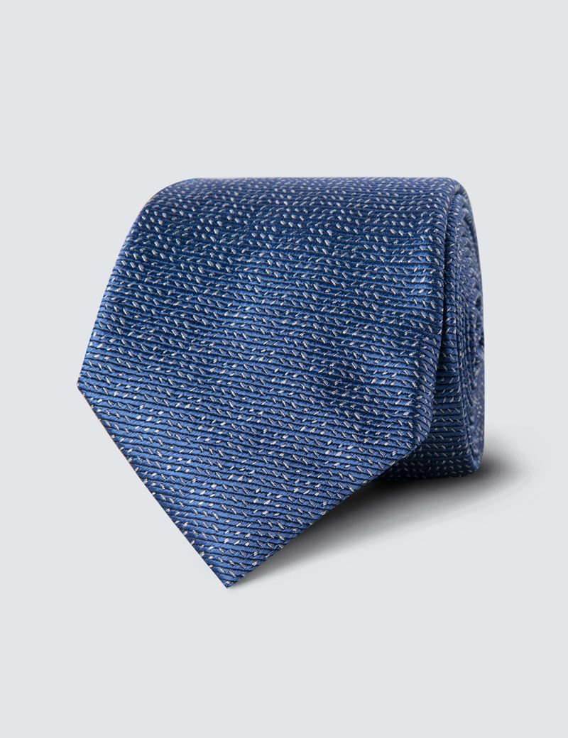 Men's Light Blue Small Dashes Tie - 100% Silk