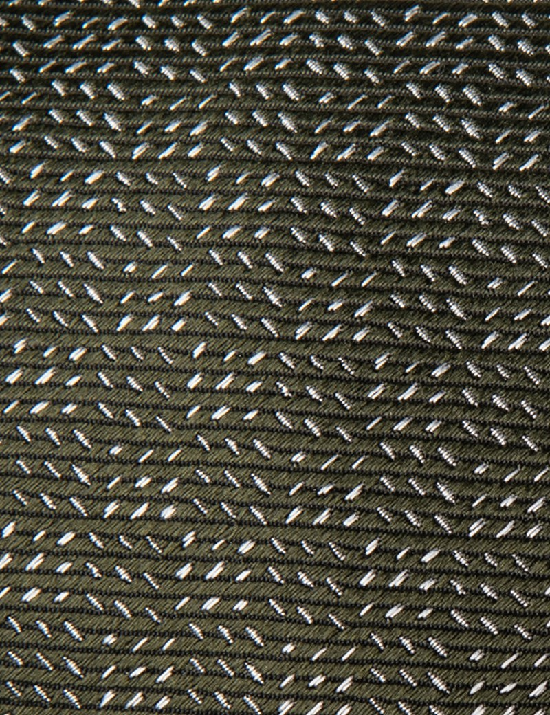 Men's Green Small Dashes Tie - 100% Silk