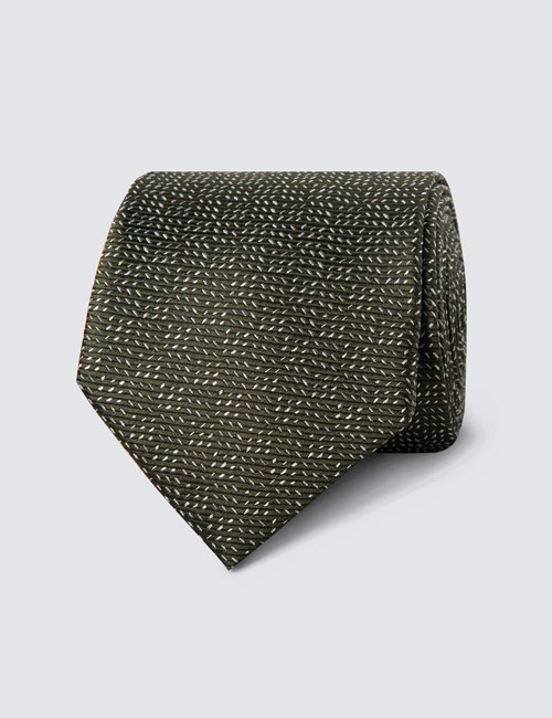 Men's Green Small Dashes Tie - 100% Silk