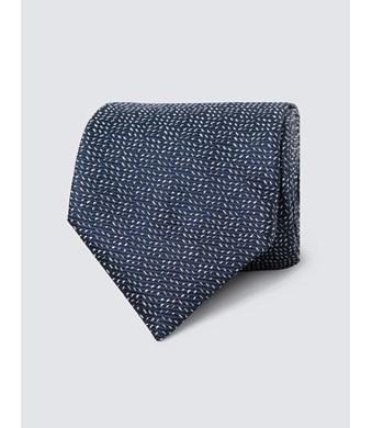 Men's Navy Small Dashes Tie - 100% Silk