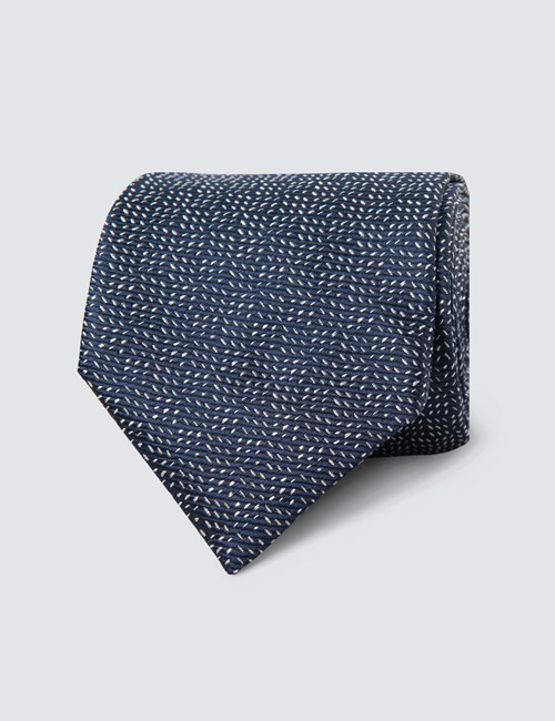 Men's Navy Small Dashes Tie - 100% Silk