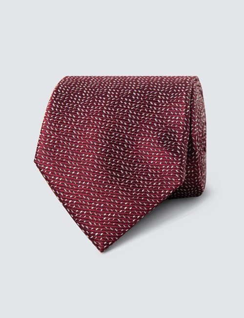 Men's Burgundy Small Dashes Tie - 100% Silk