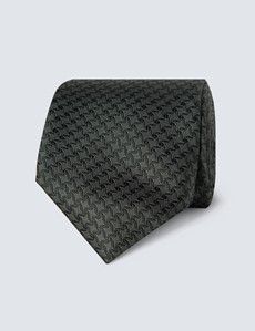 Men's Green Semi Plain Tie - 100% Silk