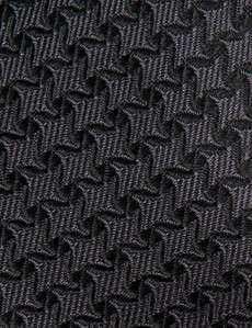 Men's Charcoal Semi Plain Tie - 100% Silk