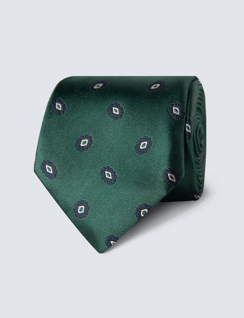 Men's Green & Navy Geometric Floral Tie - 100% Silk